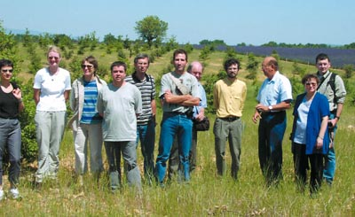 Summer 2002, MYCOREM annual meeting.  Visit of experimental plantations in France
